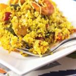 Cous cous speziato con pollo mazzancolle e verdure